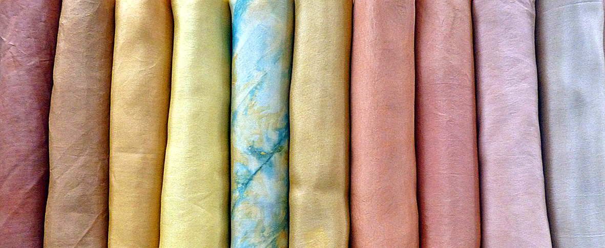 naturally dyed silk samples by Jenny Dean