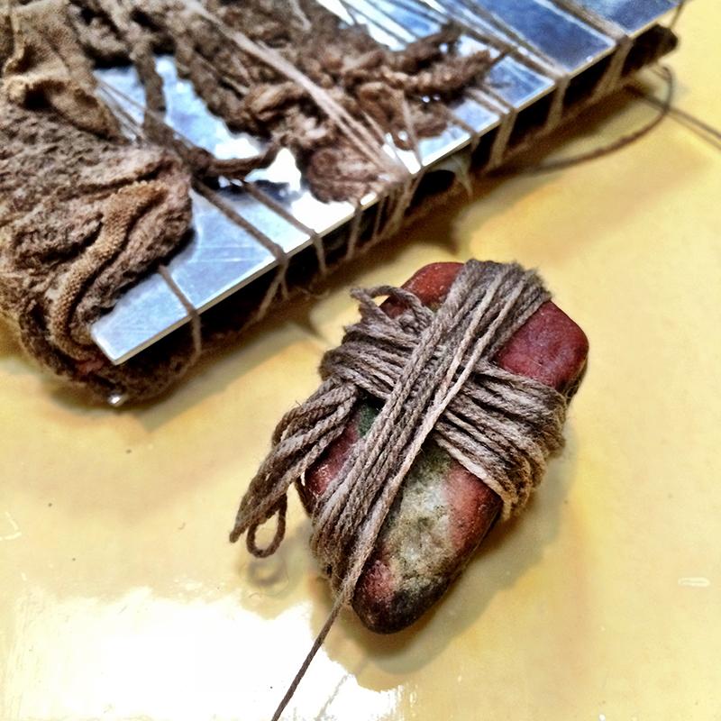 mindful string winding eco bundled textiles india flint workshop 2015
