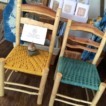 naturally dyed green wood chairs