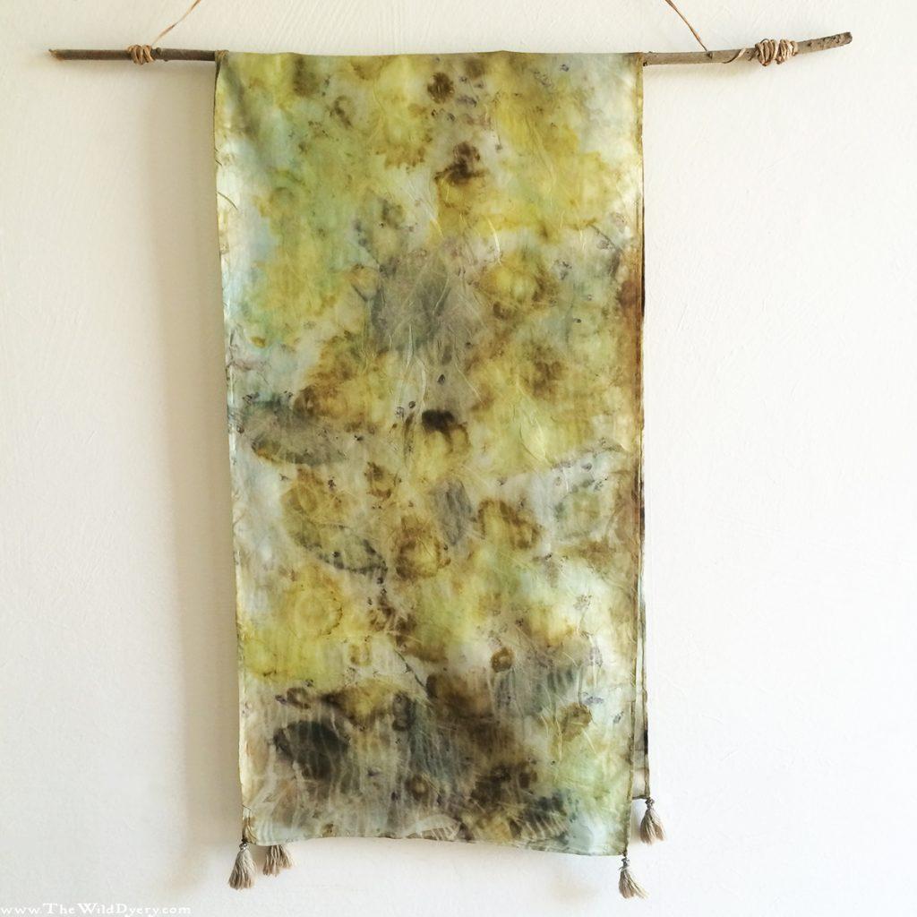 camomile eco print silk scarf