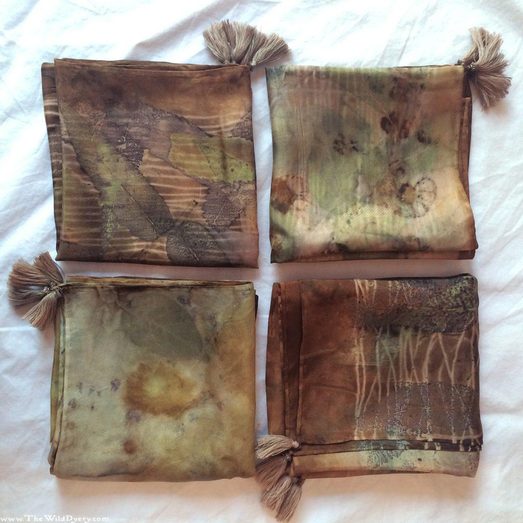 ecoprinting leaf flower print scarves