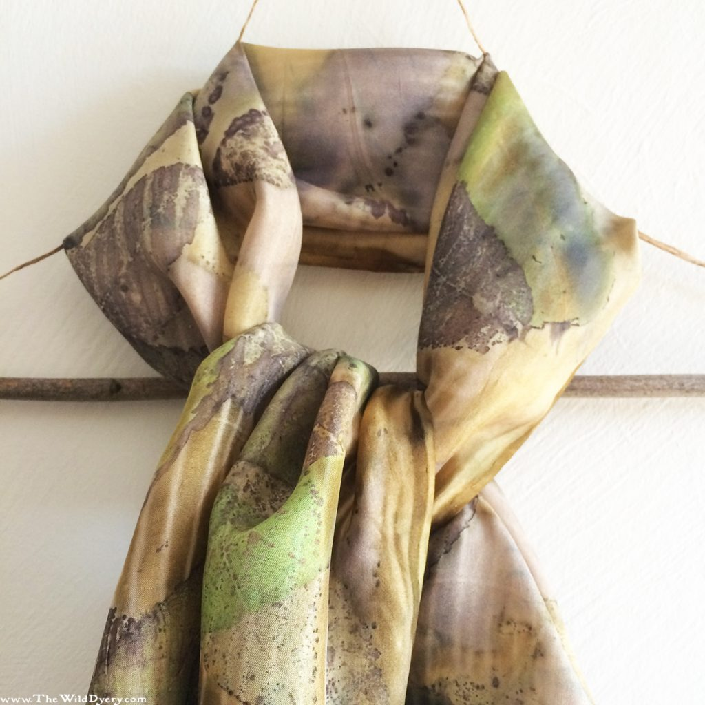 sumac leaves silk scarf eco printed